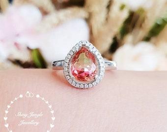 Watermelon tourmaline ring, bi-color tourmaline ring, green tourmaline engagement ring, faceted tourmaline ring, pear cut tourmaline ring
