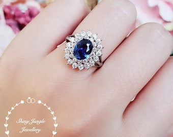 Double Halo oval Tanzanite ring, 1.5 ct blue Tanzanite engagement ring, white gold plated sterling silver, blue gemstone ring,statement ring
