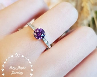 Delicate Amethyst ring,faceted amethyst solitaire ring, white gold plated silver, purple stone ring, February birthstone, purple quartz ring