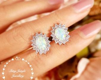 Royal Halo design White Fire Opal Stud Earrings, 6*8 Oval Cabochon Opal Earrings, October Birthstone Gift, Bridal Earrings, Cluster Earrings