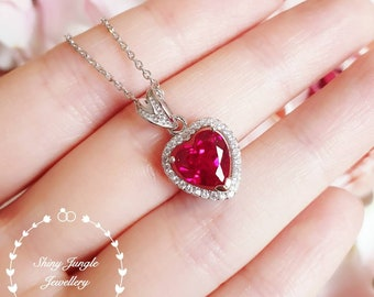 Halo Heart shaped Ruby necklace, Heart cut Ruby pendant with chain, July Birthstone, deep vivid red colour, red stone pendant,heart pendant