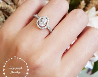 Pear cut halo engagement ring, 0.8 carat diamond simulant, classic bridal ring,white gold plated sterling silver, tear drop, pear shape ring
