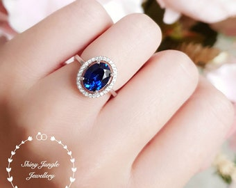 Halo sapphire engagement ring, September Birthstone, oval lab sapphire cluster ring, white gold plated sterling silver,modern statement ring