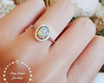 Natural Opal ring, white opal cabochon ring with diamond simulants halo, promise ring, October Birthstone ring, engagement ring, modern ring