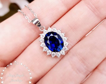 Halo Royal Blue Sapphire Necklace, Genuine Lab Grown 3 carats 8*10 Oval Cut Sapphire, Royal Halo Sapphire Pendant, September Birthstone Gift