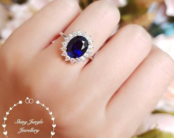 Royal Blue sapphire engagement ring, Princess Diana ring, cluster oval ring, halo ring, white gold plated sterling silver, statement ring