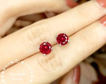 1 carat Genuine Lab Grown Ruby Stud Earrings, 6*6 mm Round Pigeons Blood Ruby Earrings, Simple Bridal Earrings, Minimalist Earrings