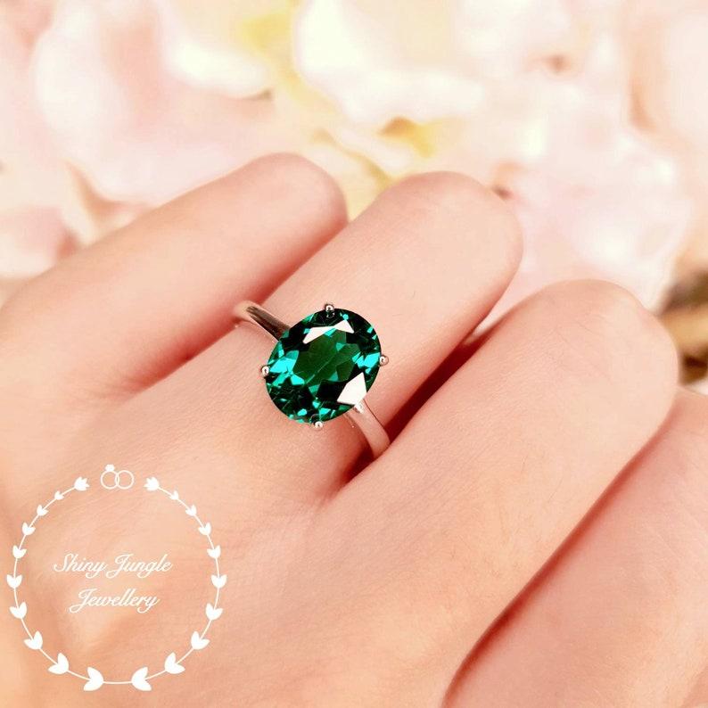 Emerald Engagement ring 3 Carats Oval Cut Muzo Green Lab image 0