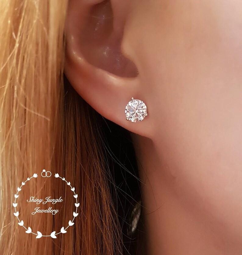 6f0377768 Diamond Stud Earrings 0.5 & 1 carat Man Made Diamond simulant | Etsy