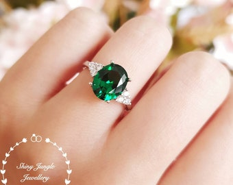3 carats oval emerald ring, three stone emerald engagement ring, white gold plated sterling silver, green gemstone ring, May Birthstone Gift