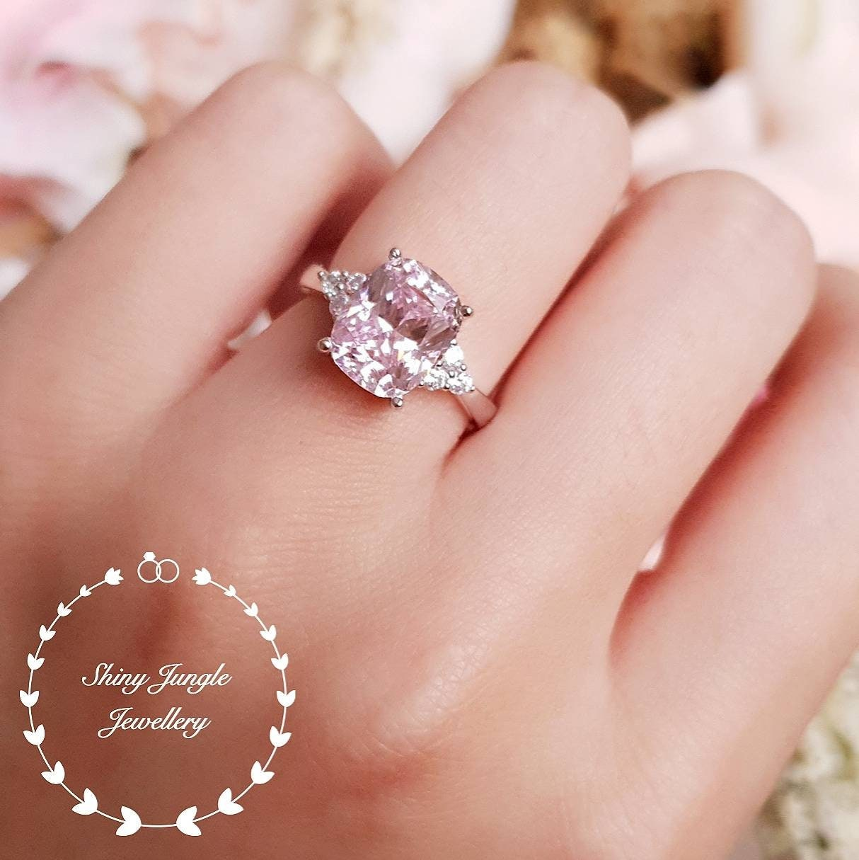 Pink Diamond Ring 3 Stone Style Engagement Ring 3 Carats