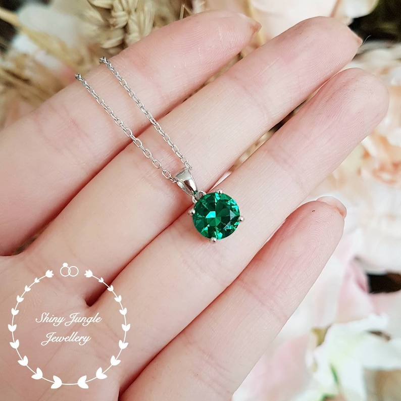 Round Emerald Necklace 2 Carats Muzo Green Emerald Pendant image 0