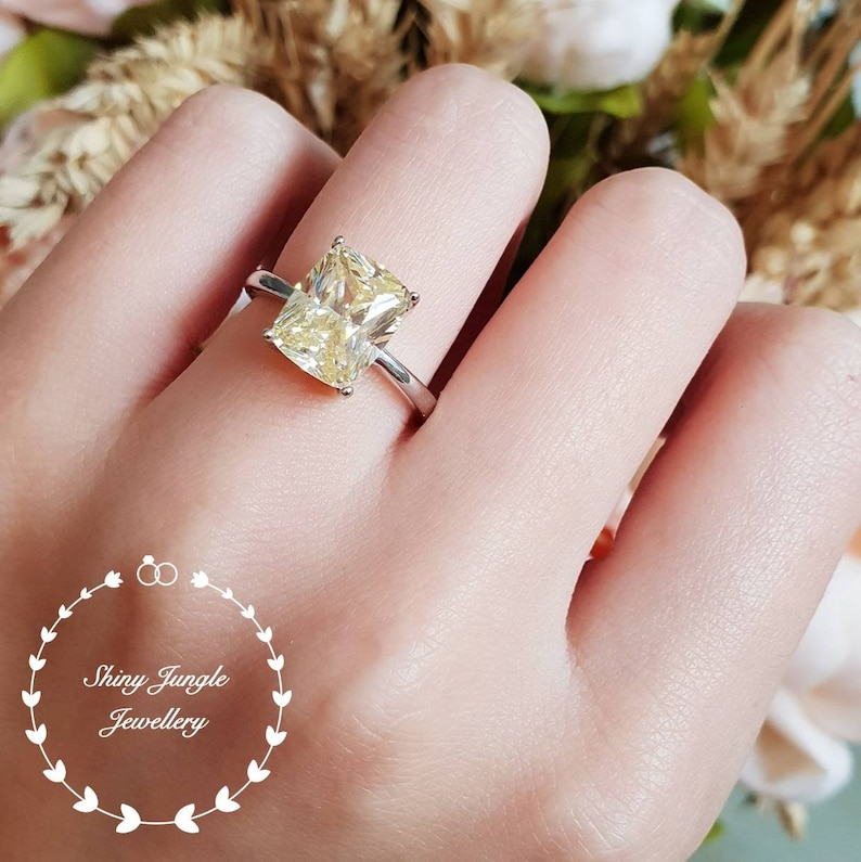 Yellow Diamond Ring Engagement Ring 3 Carats Cushion Cut Fancy Yellow Diamond Ring Pastel Yellow Ring Yellow Diamond Solitaire Ring
