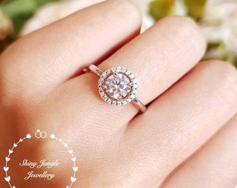 Halo Diamond Ring, Halo 1 carat 6 mm Round Brilliant Cut Diamond Engagement Ring, Diamond Simulant Promise Ring, April Birthstone Gift