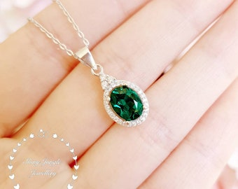 Oval emerald Necklace, 2 Carats 6*8 mm Oval Cut Three Stone Halo Emerald Pendant with Chain, May Birthstone Gift, Green Gemstone Necklace
