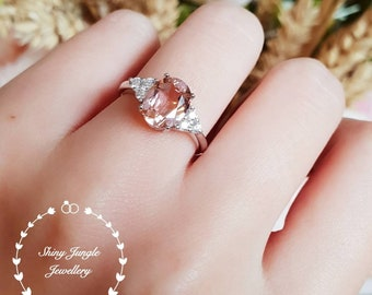 Oval Morganite ring, 3 Carats 8*10 Morganite engagement ring, three stone Morganite ring, white gold plated sterling silver, pink stone ring