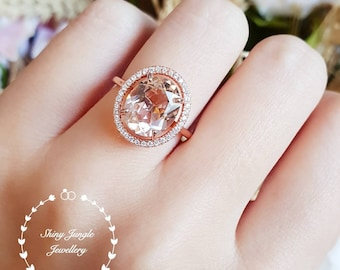 Statement Morganite ring, halo engagement ring, 5 carat oval cut lab morganite, solitaire ring, pink gemstone ring, white/rose gold plated