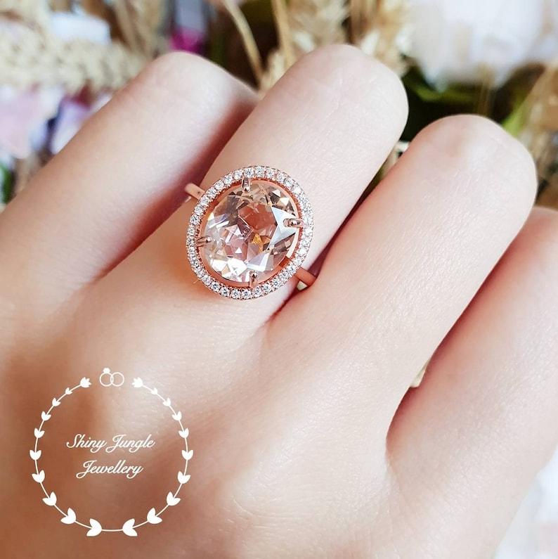 pink gemstone ring 5 carat oval cut lab morganite Statement Morganite ring whiterose gold plated halo engagement ring solitaire ring