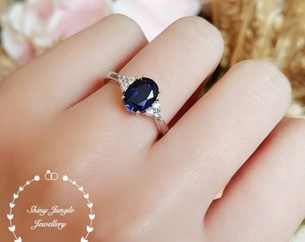 Genuine Lab Grown Oval Royal Blue Sapphire Three Stone Engagement Ring, 2 carats 6*8 mm oval sapphire, September Birthstone Promise Ring