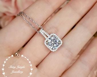 Classic diamond necklace, 2 cts round brilliant cut diamond simulant pendant, unique square halo design, white gold plated sterling silver