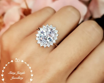 Princess Diana Style Halo Diamond Simulant Engagement Ring, Oval Cut 3 Carats 8*10 Imitation Diamond Promise Ring, April Birthstone Gift