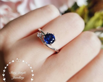 Genuine Lab Grown Round Cut Dainty Sapphire Engagement Ring, Delicate 1 carat 6*6 mm Sapphire Promise ring, wavy band, September Birthstone