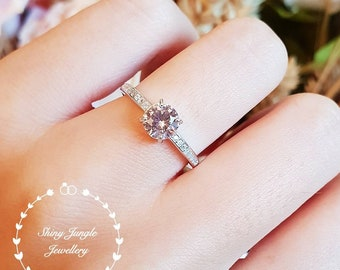Dainty Morganite engagement ring, round cut Morganite solitaire ring, promise ring, pink stone ring, pale pink ring, delicate minimalist
