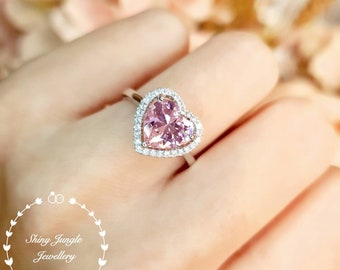 Halo Heart Shaped Pink Diamond ring, 2 carats 8*8 mm Vivid Pink Diamond Simulant Engagement Ring, Sterling Silver Ring, Pink Heart Ring