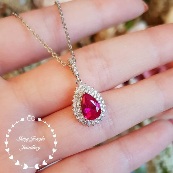 Ruby Pendant Pear Shaped Ruby Necklace July Birthstone Etsy