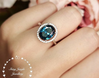 Modern Halo London Blue Topaz Engagement ring, 3 Carats 8*10 mm Oval Cut Dark Teal Blue Topaz promise ring, Micro Pavé Halo Topaz Ring