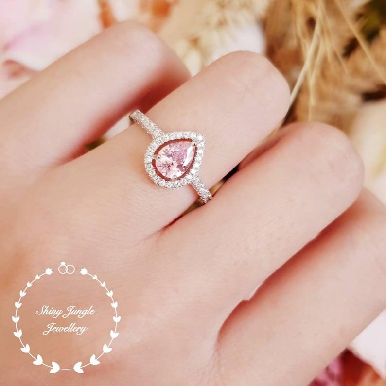 12a49818e123c2 Pear shape pink diamond ring Halo pink diamond ring pink | Etsy