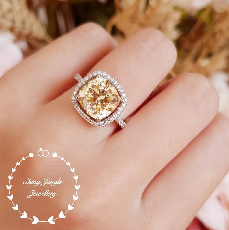 59add102c5512 Halo Yellow diamond ring, engagement ring, 3 carats cushion cut fancy  yellow diamond ring, pastel yellow ring, yellow diamond solitaire ring