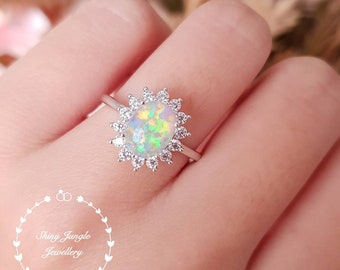 Halo Opal engagement ring, 7*9 mm white opal cabochon ring with diamond simulants halo, October Birthstone promise ring,  modern Opal ring