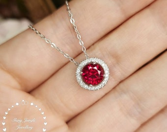 Ruby Necklace, Halo 1 Carat 6 mm Round Cut Genuine Lab Grown Ruby Necklace, July Birthstone Pendant Gift, Delicate Red Gemstone Necklace