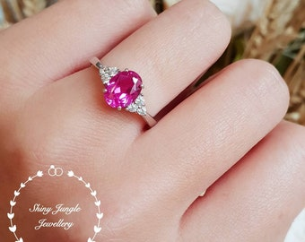 Genuine Lab Grown Oval Cut Pink Sapphire Three Stone Engagement Ring, Hot Pink Gem Promise ring, September Birthstone Promise Ring