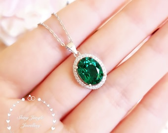 Modern Halo Oval Emerald Necklace, 3 Carats 8*10mm Muzo Green Micro Pave Halo Emerald Solitaire Pendant with Chain, May Birthstone Gift