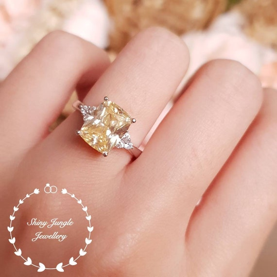 Yellow Diamond Ring Engagement Ring 3 Carats Cushion Cut Fancy Yellow Diamond Ring Pastel Yellow Ring Yellow Diamond Promise Ring