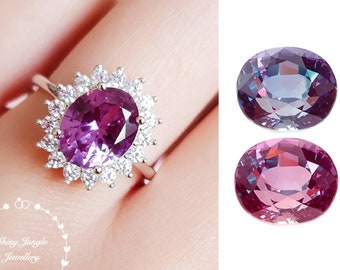 Alexandrite Ring, Halo 3 carats 8*10 mm Oval Cut Alexandrite Engagement Ring, June Birthstone Promise Ring, Colour Changing Gemstone Ring