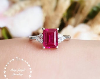 Three stone style emerald cut genuine lab grown ruby engagement ring, July birthstone promise ring, red gemstone ring, rectangular ruby ring