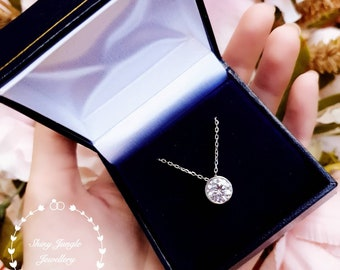 Classic bezel set diamond necklace, 2 cts round brilliant cut diamond simulant, simple solitaire pendant, white gold plated sterling silver