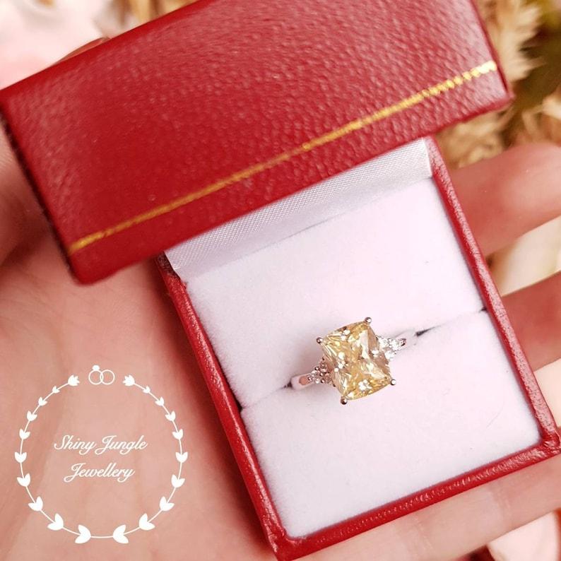 Yellow diamond ring engagement ring pastel yellow ring yellow diamond promise ring 3 carats cushion cut fancy yellow diamond ring