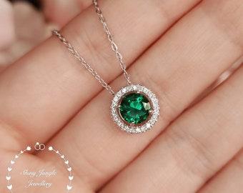 Halo Round Emerald Solitaire Necklace, Delicate 1 carat 6mm Muzo Green Emerald Pendant, May Birthstone Gift, Green Gemstone Pendant