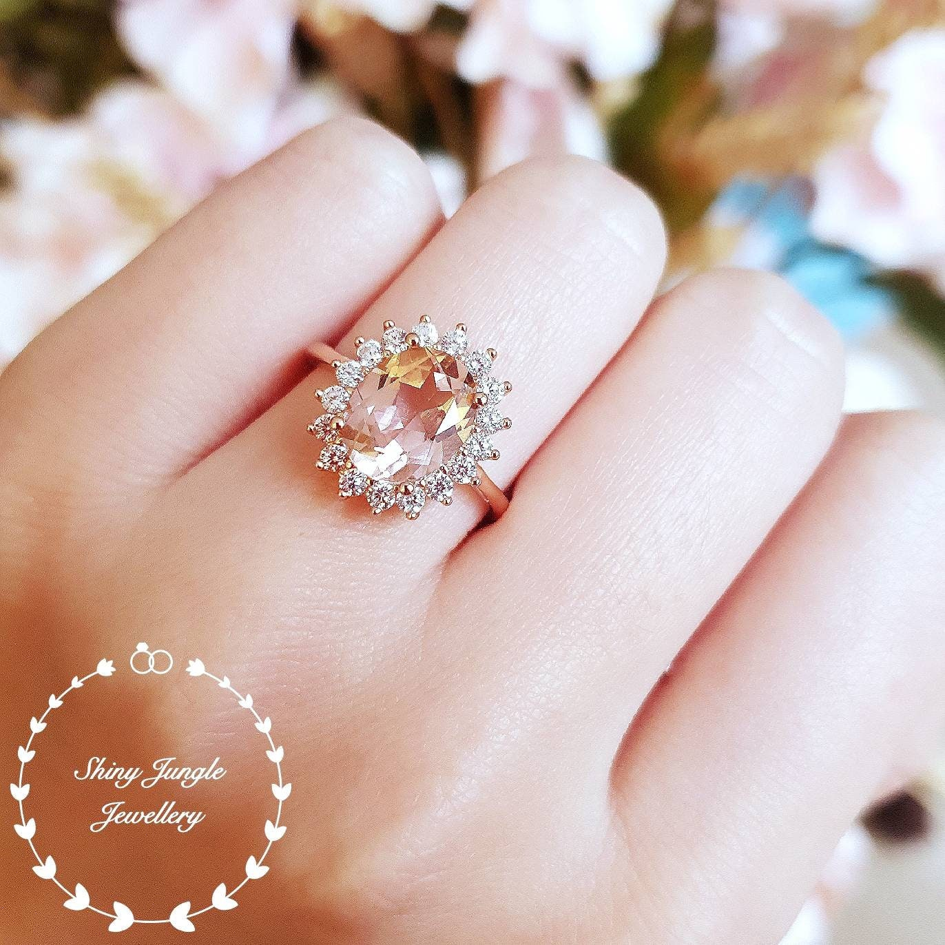 Morganite engagement ring, Rose Gold/White gold plated