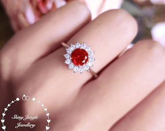 Halo round cut genuine lab grown Ruby engagement ring, July Birthstone promise ring, delicate ruby ring, white gold plated sterling silver