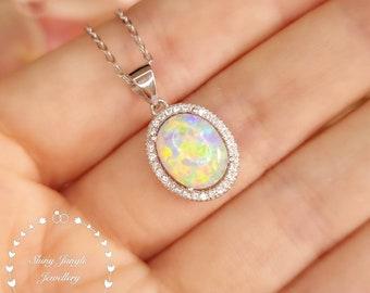 Modern Halo Oval Cut Fire Opal Necklace, 8*10 mm White Opal Cabochon Pendant, October Birthstone Pendant, Modern Opal Statement Necklace