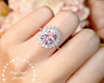 Rare Pastel Blush Pink Genuine Lab Grown Sapphire Engagement Ring, 3 Carats 8*10 Oval Light Padparadscha Sapphire Ring, Diana Halo Design