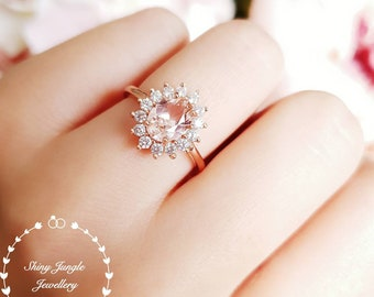 Morganite Halo engagement ring, 2 carats 6×8 mm oval cut morganite promise ring, pink gemstone ring, rose/white gold plated silver silver