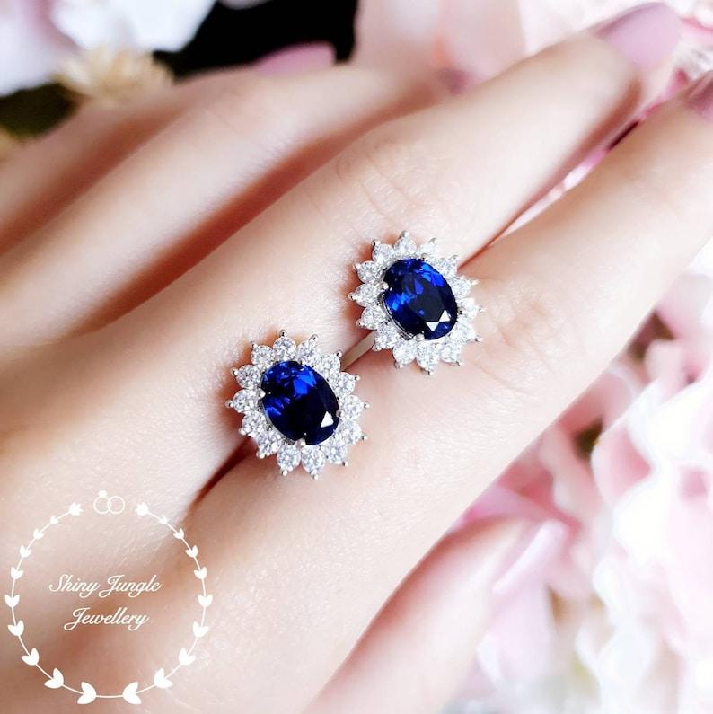 Genuine lab grown Royal Blue sapphire stud earrings Halo image 0