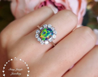 Art Deco Halo Black Opal Engagement ring, Oval Black Opal Cabochon Promise Ring with Rectangular Diamond Simulant Halo, October Birthstone