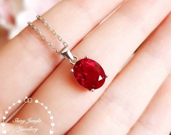 Oval Ruby Necklace, pigeon's blood lab created genuine ruby, red gem solitaire necklace, white gold plated sterling silver, July Birthstone